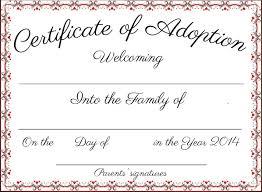 certificate pet adoption certificate template u2013 best