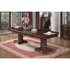 Double Pedestal Dining Table Meridian Furniture 701 T Barcelona Expandable Double Pedestal