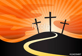 christian crucifix silhouette of calvary cross symbol on hill and