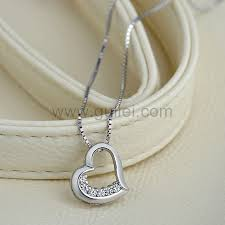 White Gold Personalized Necklace White Gold Plated Silver Heart Fashion Necklace For Her