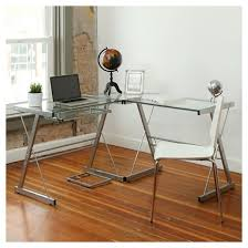 Glass Metal Computer Desk L Shaped Glass Corner Computer Desk Saracina Home Target With Idea