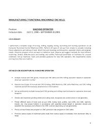 Machine Operator Job Description For Resume by Cv New