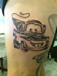 car tattoos newest edition to the pixar leg mater waiting for color done by