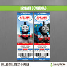 thomas the train ticket invitations instant download and edit