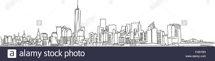 free hand sketch of new york city skyline vector outline scribble