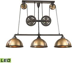 Kitchen Island Light by Elk 65152 3 Led Torque Contemporary Vintage Rust Vintage Brass Led