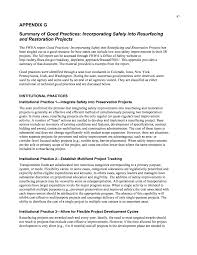 appendix g summary of good practices incorporating safety into