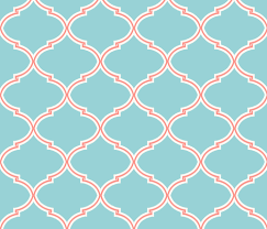 Moroccan Trellis Fabric Lily Trellis In Turquoise And Coral Fabric By Sparrowsong On