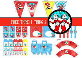 free dr seuss thing 1 thing 2 twins party printable birthday