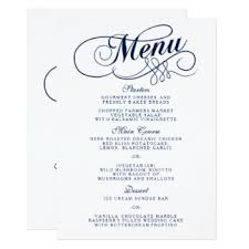 wedding menu templates navy blue wedding menu invitations announcements zazzle