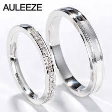 18k white gold wedding band auleeze classic diamond rings men women wedding