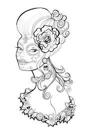 Day Of The Dead White Free Day Of The Dead Coloring Pages