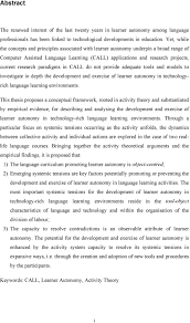 Thesis Theoretical Framework Call And The Development Of Learner Autonomy An Activity