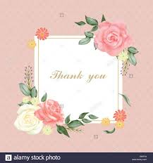 floral thank you card template in pink stock vector