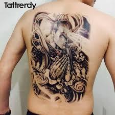 48 34cm full back tattoo stickers buddha fish wolf skull dragon
