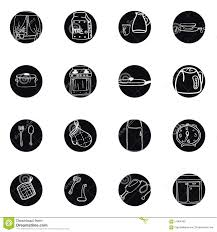 kitchen utensils and cookware hand drawn black and white icons set