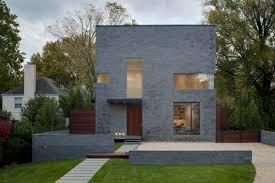minimalist white windows frame of the cinder block modern house