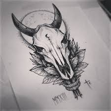 marvelous blue color ornate bull skull tattoo design