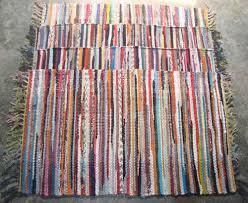 Rag Rug Runner Fair Trade Handmade Indian Chindi Rag Rugs Hand Woven Mat Large