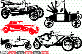 classic cars clip art old vintage cars svg silhouette cutting files sign icons cricut