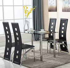 Black Leather Chairs And Dining Table Amazon Com Eight24hours 5 Piece Glass Dining Table Set 4 Leather