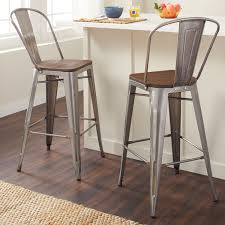 Tabouret Bistro Chair Carbon Loft Tabouret Bistro Wood Seat Gunmetal Finish Bar Stools