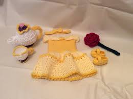 crochet belle newborn photography prop set beauty and the beast
