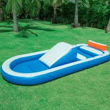 bestway inflatable h2o go dual pool with slide 54137e rural king