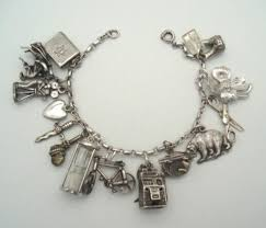 silver bracelet with charms images Fantastic 1940 39 s loaded sterling silver charm bracelet 14 charms jpg