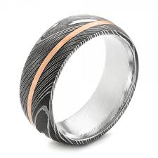 damascus steel and 14k gold wedding band 103120