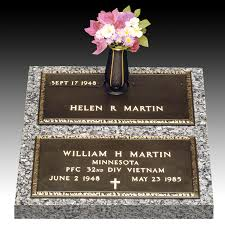 Flat Grave Markers With Vase Veteran Stacked Companion With Vase Jpg