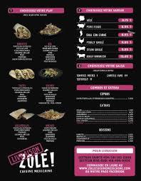 livraison cuisine menu livraison picture of zole cuisine mexicaine city