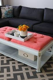 How To Make An Ottoman From A Coffee Table I Am Slightly Addicted To This Color Diy Ottoman From Coffee