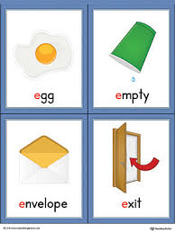 letter e words and pictures printable cards egg empty envelope