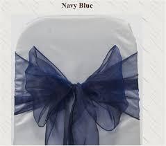 navy blue chair sashes 100pcs wedding navy blue organza chair sashes bow for banquet