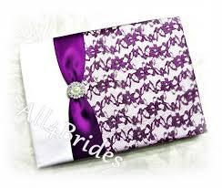 purple wedding guest book purple lace wedding guest book all4brides on artfire