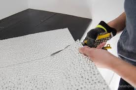 Ceiling Tile Installation Remodelaholic How To Install A Metal Ceiling Tile Backsplash