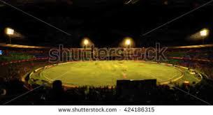 oil color painting cricket stadium crowd stock illustration