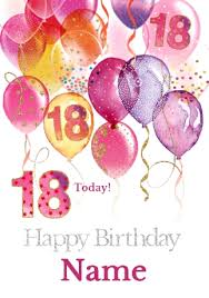 18th birthday card pink balloons milestone birthday funky pigeon