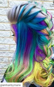 blue mixed braided rainbow dyed hair color dyed hair u0026 pastel