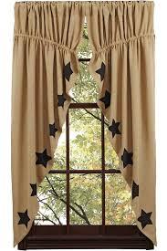 Primitive Swag Curtains New Primitive Country Sturbridge Black Burlap Prairie Curtain