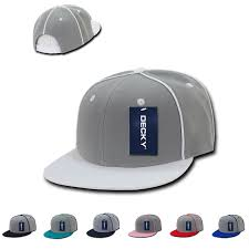 dozen decky piped crown snapback two tone 6 panel flat bill hats