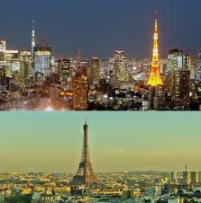 the eiffel tower and tokyo tower falling in love with the
