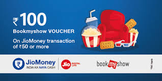 bookmyshow offer jiomoney bookmyshow offer get rs 100 bms voucher on jiomoney