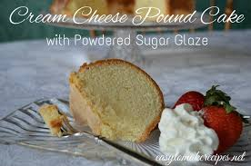 cream cheese pound cake with powdered sugar glaze easy to make