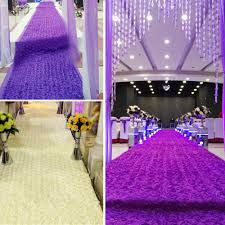 purple aisle runner 140 475cm 3d flower satin wedding aisle runner carpet curtain
