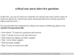 Icu Nurse Job Description Resume by Critical Care Nurse Interview Questions