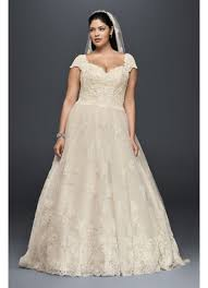 plus size wedding dresses with sleeves tea length cap sleeve plus size wedding dress with lace david s bridal