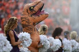 knicks city dancer halloween costume a t rex crashed the broncos game and danced its heart out with