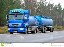 renault trucks 2014 blue renault premium 460 tank truck on the road editorial stock